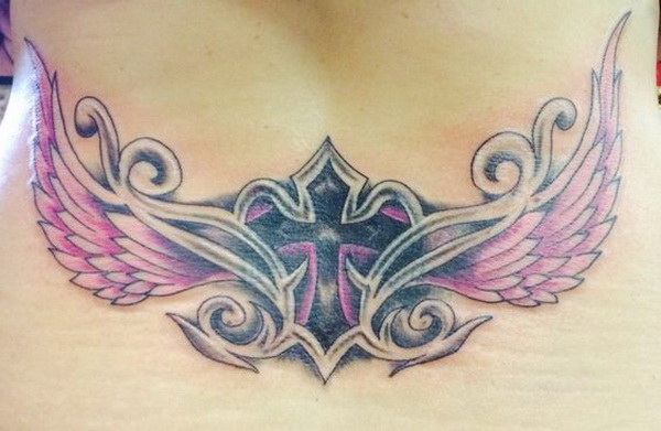 Lower Back Tattoo with Cross and Wings.