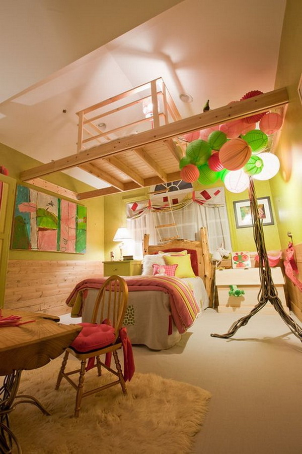 Colorful bedroom for girls. So bright and fun!