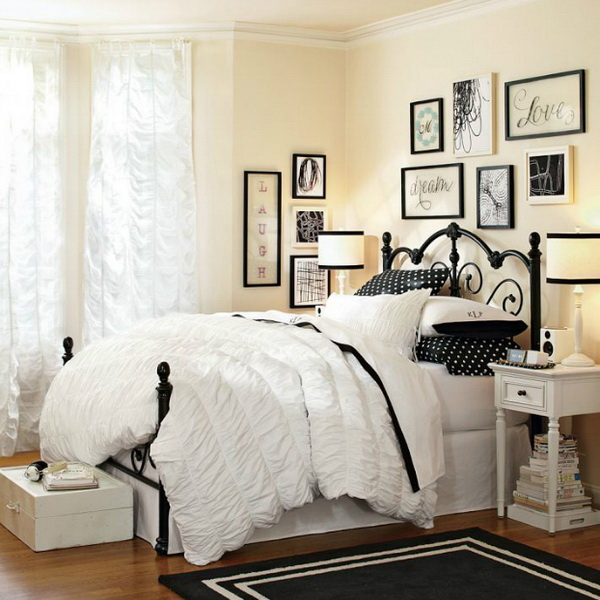 Beautiful Soft Yellow Painted Walls, With Stylish Gallery Wall, White Beding, Polka  Dots Pillows