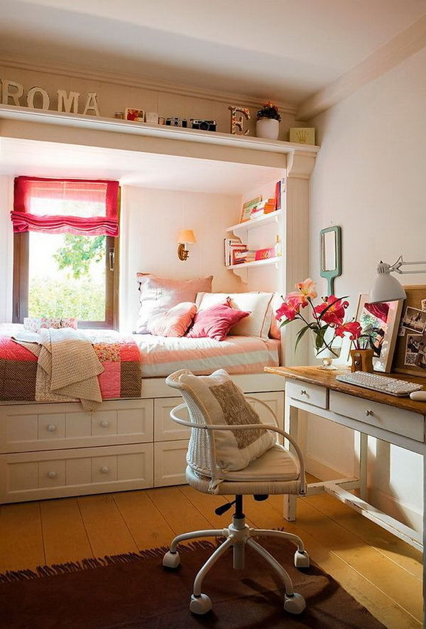 nice Small Teens Bedroom Part - 14: Nice room for a teenager. Small teen girlsu0027 bedroom design with style.