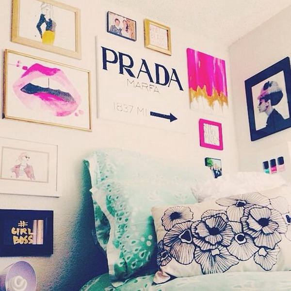 Stylish wall art decor for teenage girls' bedroom. Sleep in style every night!