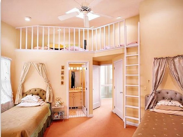 love the idea of two rooms in one with a level change - Teenage Girl Room Ideas Designs