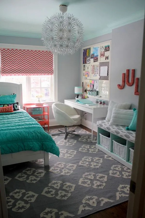 coral and turquoise themed bedroom design for teenage girls bedroom and workplace just in one - Bedroom Designs Girls