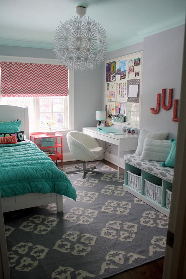 Coral And Turquoise Themed Bedroom Design For Teenage Girls. Bedroom And  Workplace Just In One