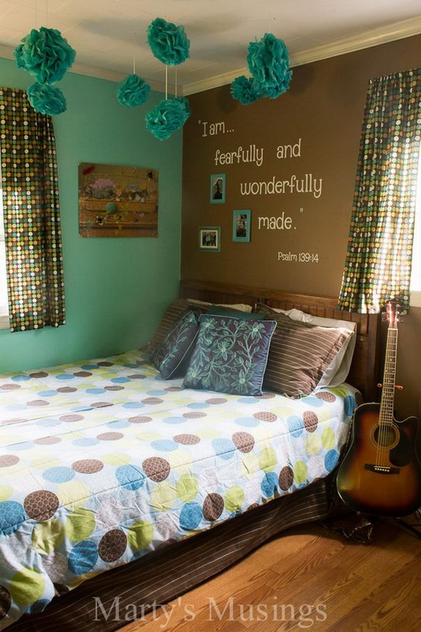 Teenage girls room with inspirational scripture wall. Small teenage girls' bedroom design idea. Sleep in style!