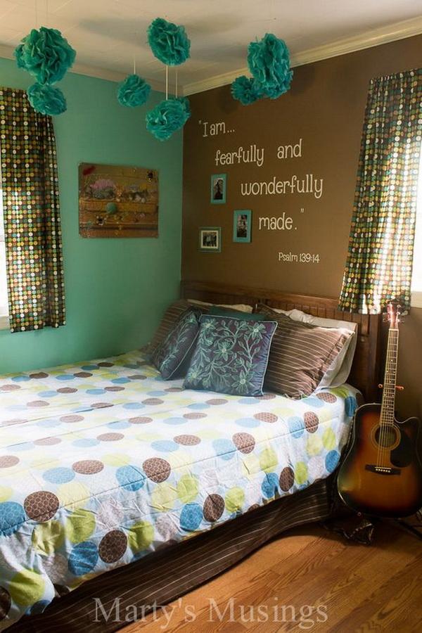Teenage Girls Room With Inspirational Scripture Wall. Small Teenage Girlsu0027  Bedroom Design Idea.