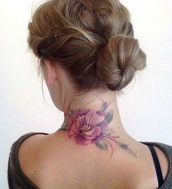 Flower Back of Neck Tattoo Design.
