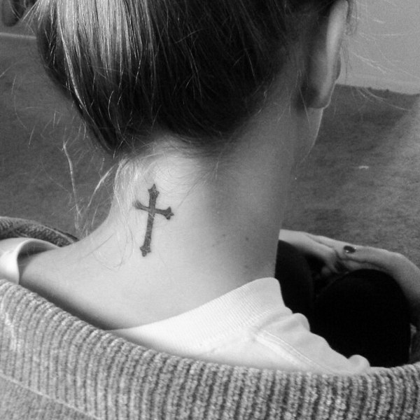 Simple Cross Tattoo on Back of Neck.