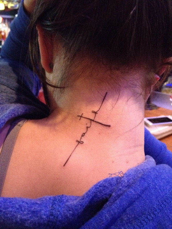 Cross Faight Tattoo for Women on Back of the Neck.
