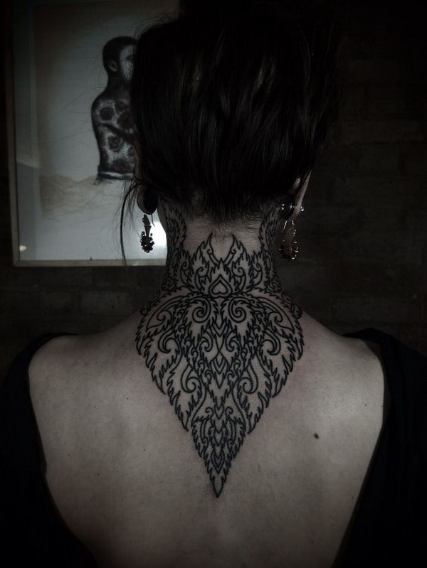 Intricate Back of Neck Tattoo Design.