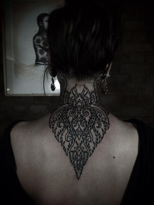 Intricate Back of Neck Tattoo Design.