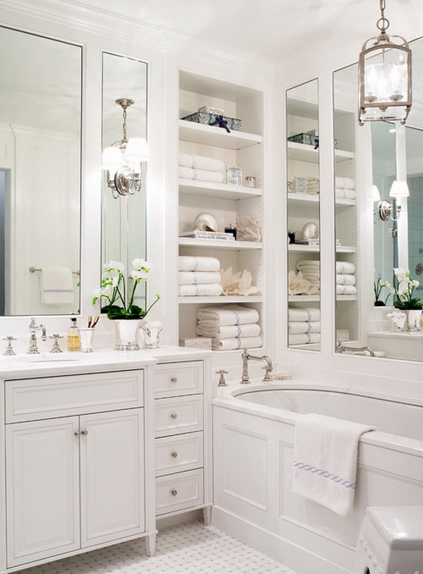 White Master Bathroom with Lots of Shelf Storage.