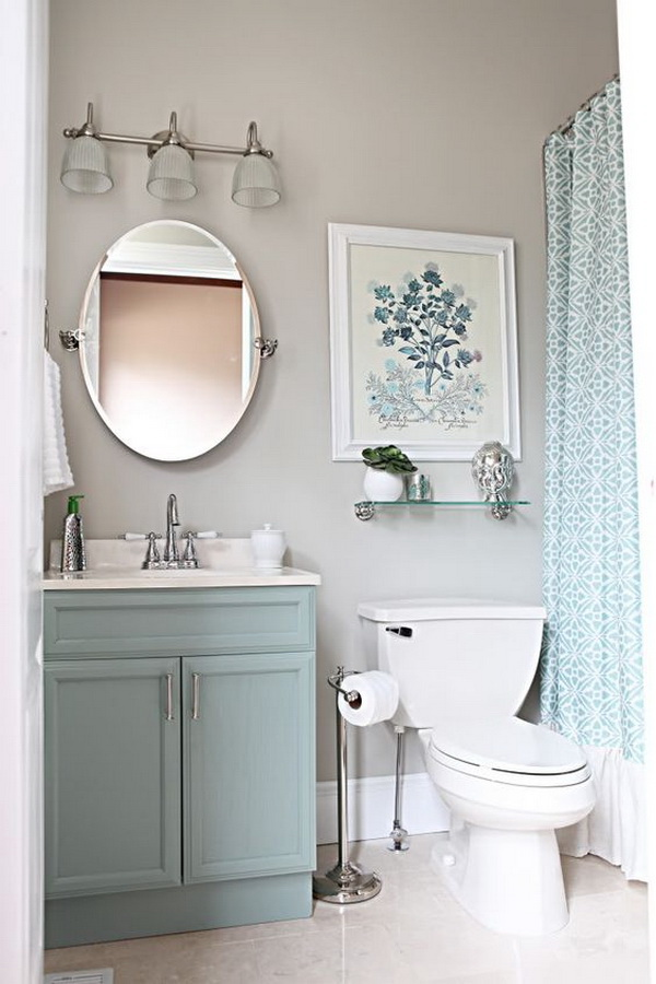 Blue and gray small bathroom ideas. Love this color combination in a bathroom.