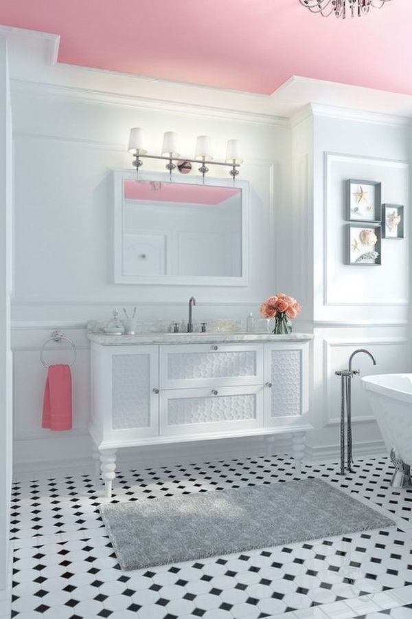 White bathroom design with pink ceiling.