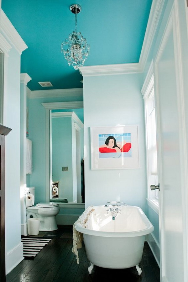 Peacock blue painted ceiling bathroom.