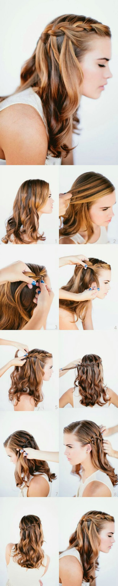 Waterfall Braid Long Hairstyle Tutorial.