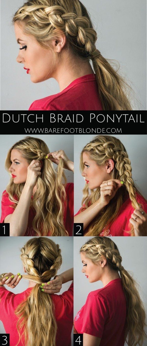 Dutch Braid Ponytail.