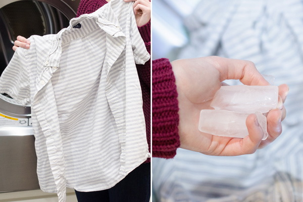 Dewrinkle Clothes Quickly with Ice Cubes: See how to use a natural cleaner to brighten dingy white socks and clothes.