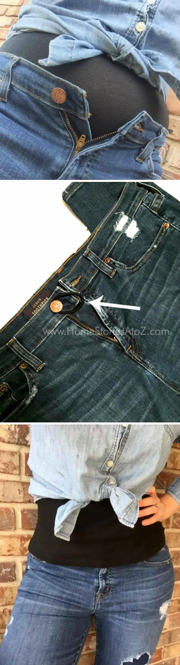 How To Button Tight Pants with a Hair Tie: Just buttoning tight pants with an elastic hair tie will make things much easier!