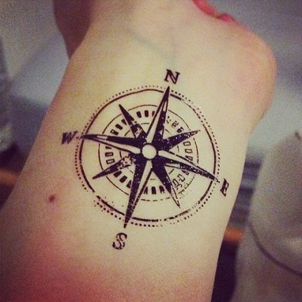 Compass Tattoo Design on Forearm.