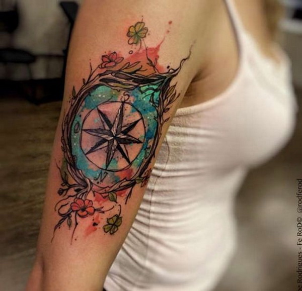 Watercolor Compass Tattoo.