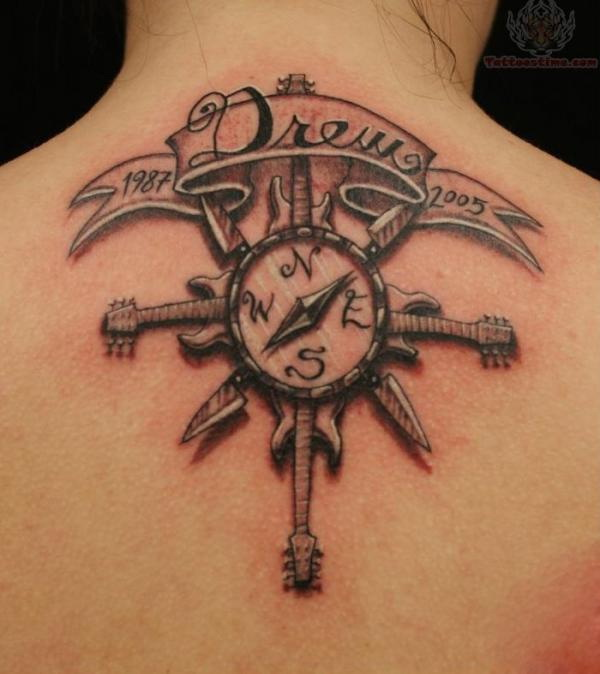 Pretty Compass Tattoo on Neck for Girls.