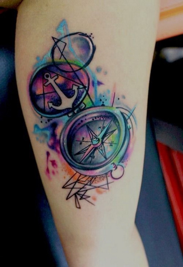 Beautiful Watercolor Compass Tattoo.