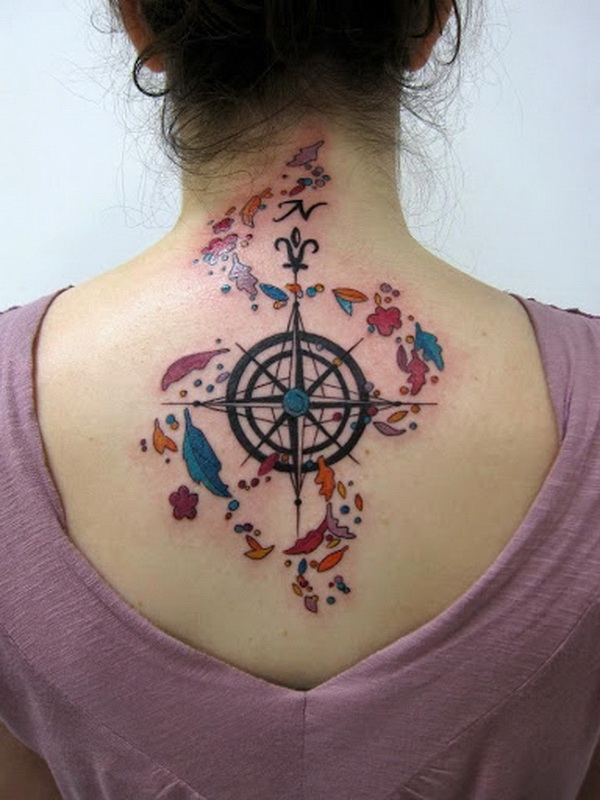 Compass Tattoo Design on Back for Females.