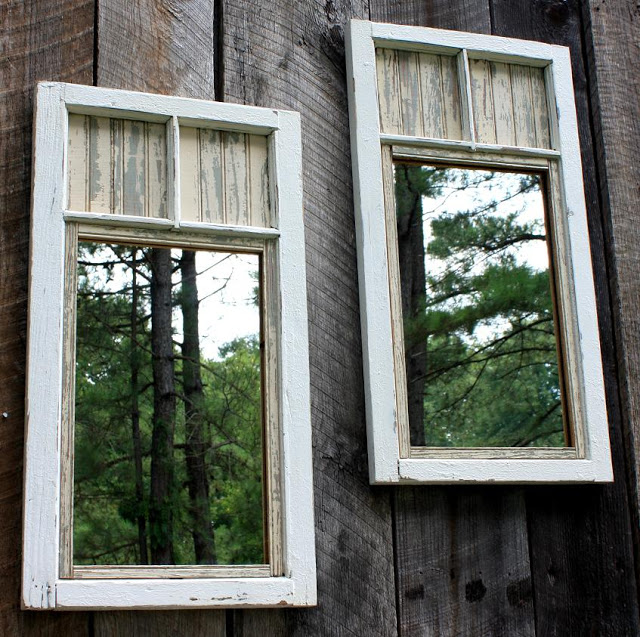 Add Mirrors to The Fence Fashion mirrors from old windows with paint and add a kind of depth to your backyard with this project