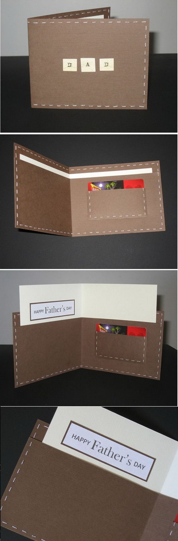 Father's Day Wallet Card. This wallet card is easy to make! You just need some colored paper, a little sewing and a little card for your message.
