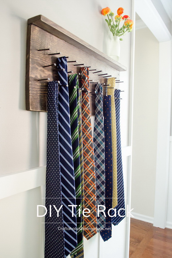 DIY Wood Tie Rack. This is also an easy handmade project for the modern dad this Father's Day!