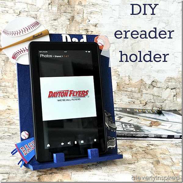 DIY Ereader Holder. Perfect handmade Father's Day gift!