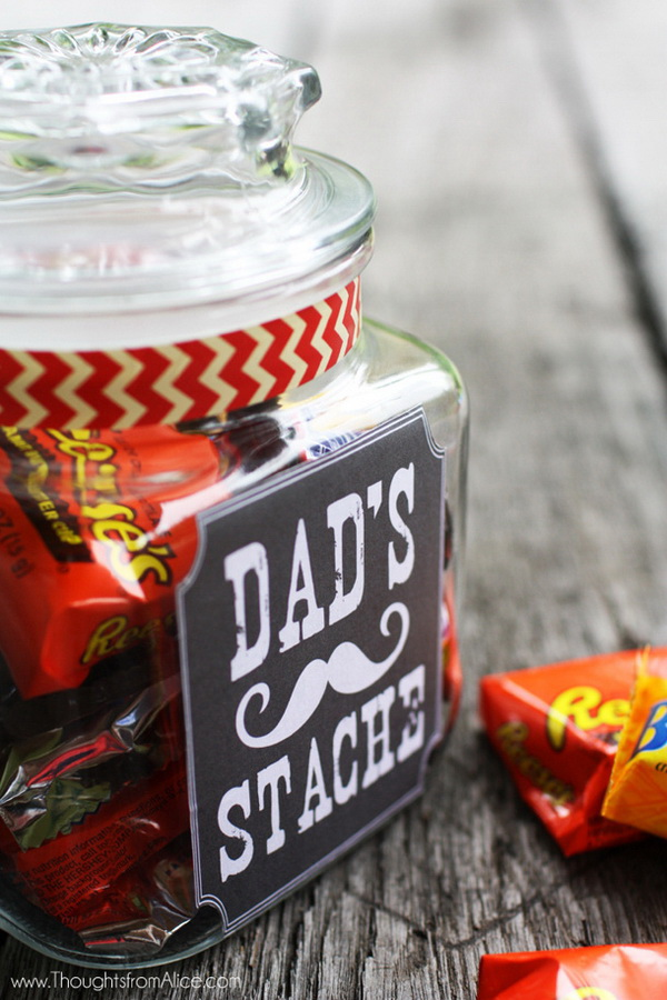 """Father's Day Gift Jar: """"Dad's Stache"""" with Free Printable."""