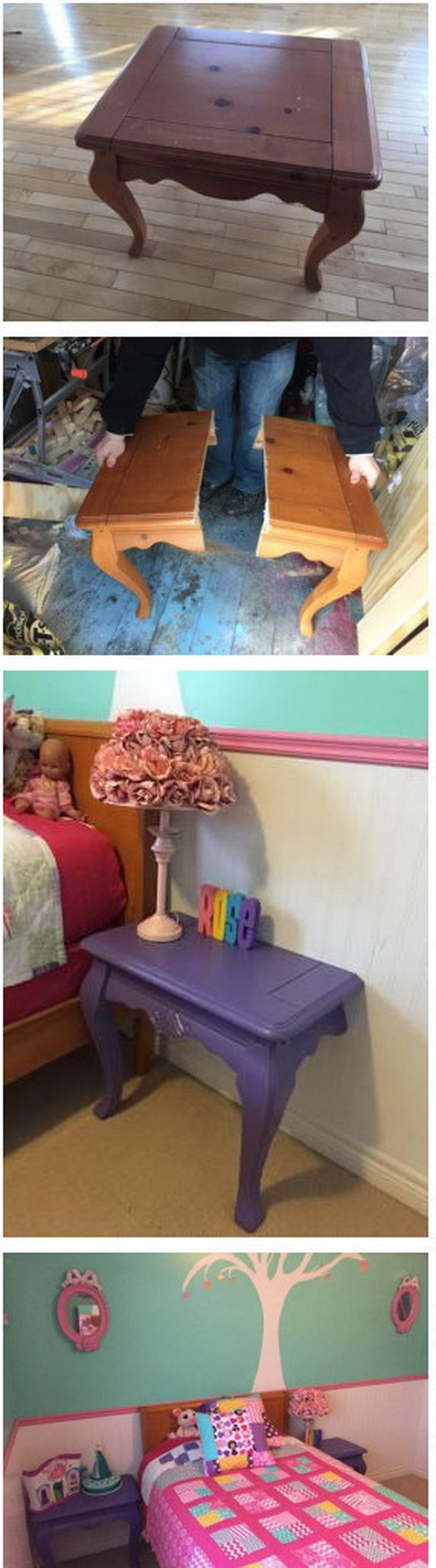 Magical Multiplying Nightstands: Turn one end table that you never use into two DIY nightstands for your bedroom. What an easy and creative DIY furniture for your home!