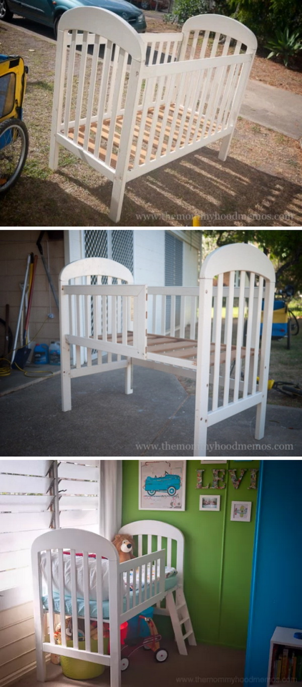 DIY Toddler Loft Bed Made From Old Crib: Learn how to make a toddler loft bed out of an old crib with the full instructions below.