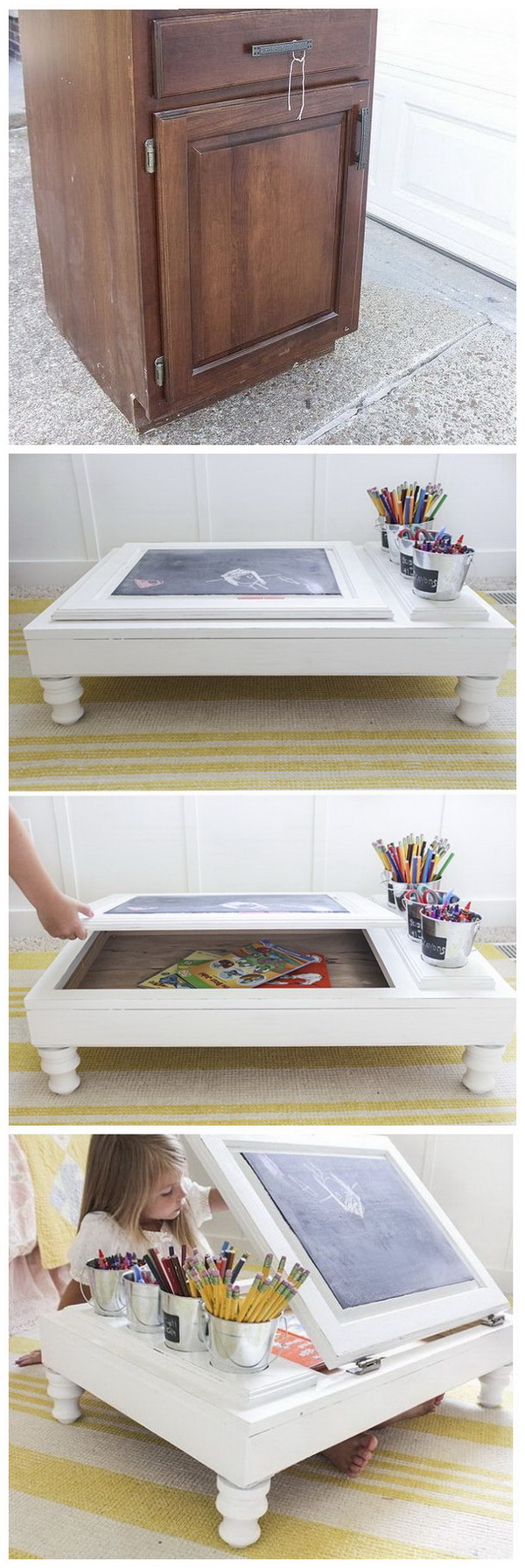 DIY Child's Desk with Kitchen Cabinet: Never throw away old cabinets next time. Repurpose them into a portable desk for your elementary-aged child with the tutorial here.