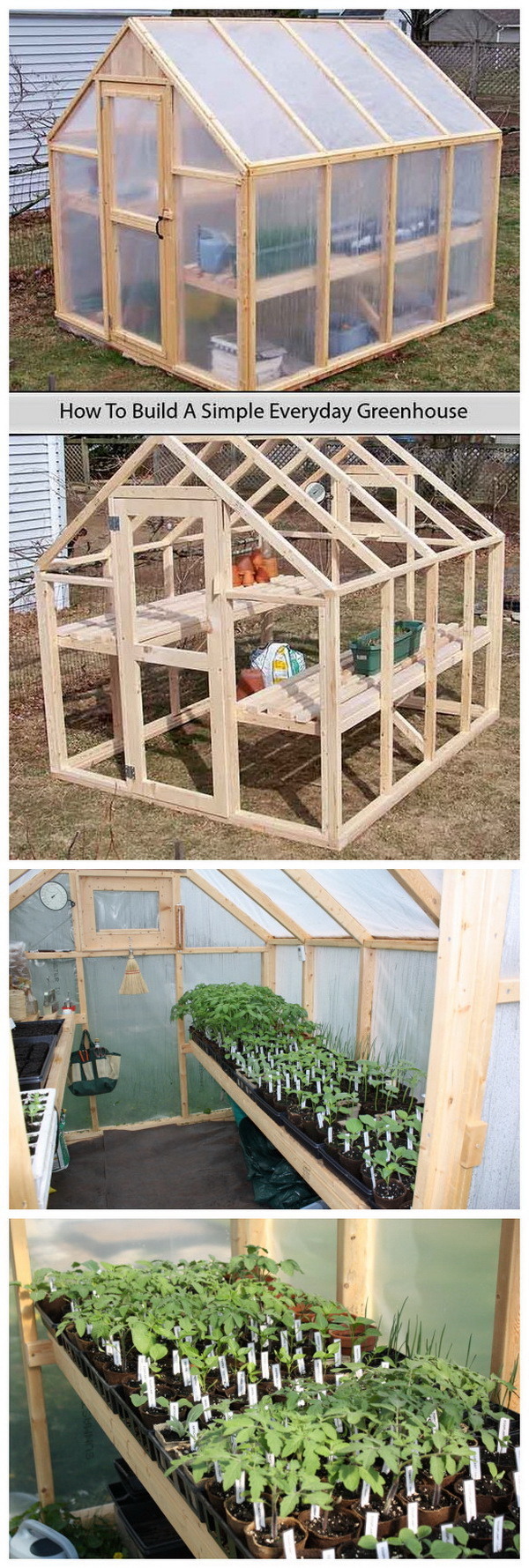 A tutorial to build a simple everyday greenhouse on your own with simpler stuff that you might get for a few dollars.