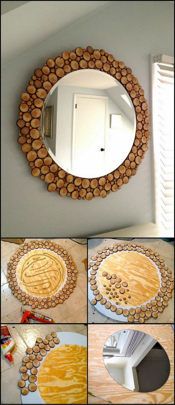 DIY Wood Slice Mirror: This Unique Mirror Is Great For Your Living Area,  Bedroom