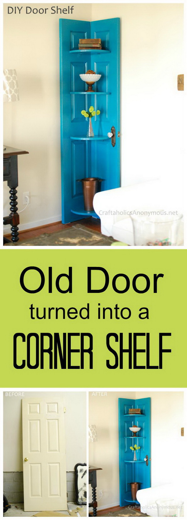 DIY Door Corner Shelf: Turn an old door that you don't want to use into this gorgeous and functional corner shelf for any room in your house with some spray paint and a bit of woodworking skills!