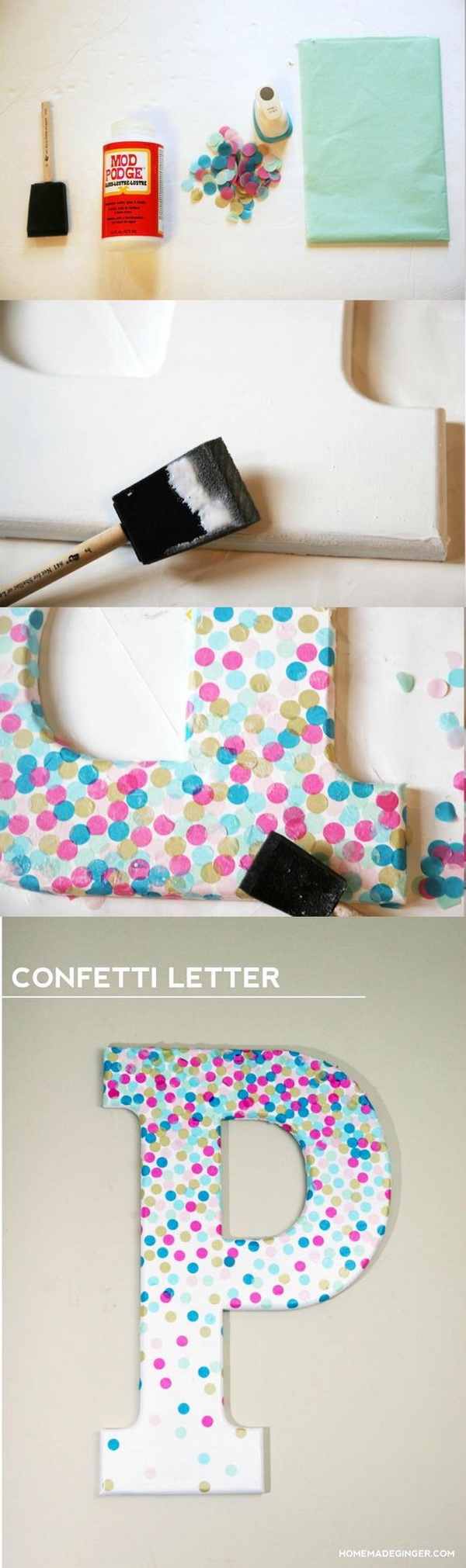 DIY Confetti Letter For Home Decor: Use a letter, Mod Podge, and real confetti to make cool decor project! Perfect for a kids' room or craft studio.