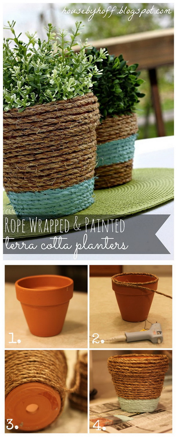 Rope-Wrapped Painted Terra Cotta Pots.