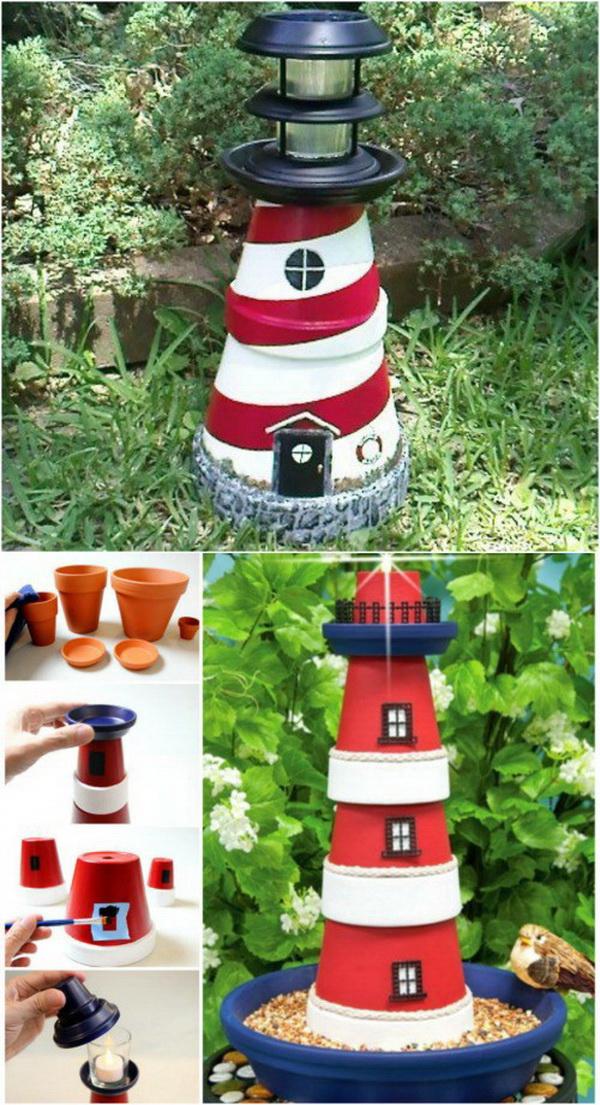 Nautical DIY Clay Pot Lighthouse for Garden Decoration.