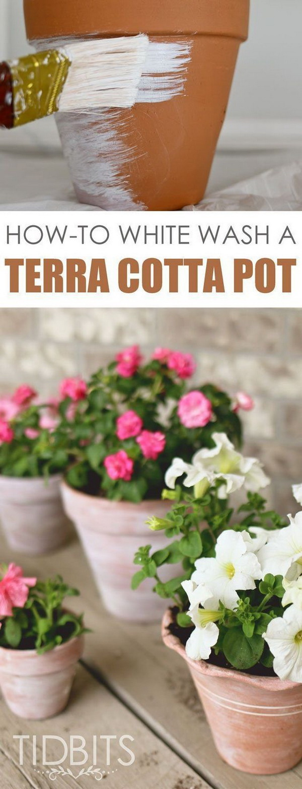 DIY Whitewashed Terra Cotta Pots & 17 Creative Ideas to Decorate with Terra Cotta Flower Pots - For ...