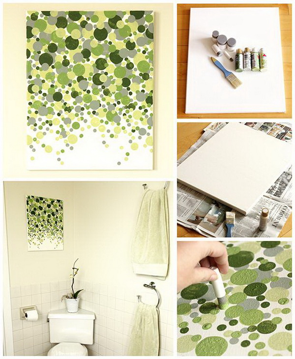 DIY Dotted Canvas Wall Art.