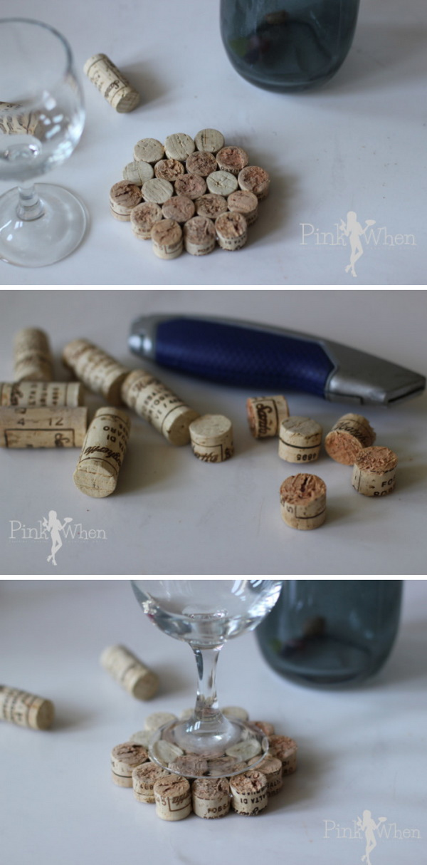 DIY Wine Cork Drink Coaster.