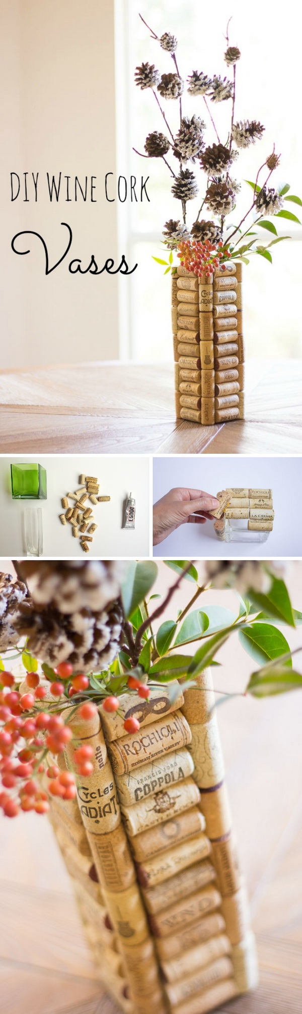 DIY Wine Cork Vases.