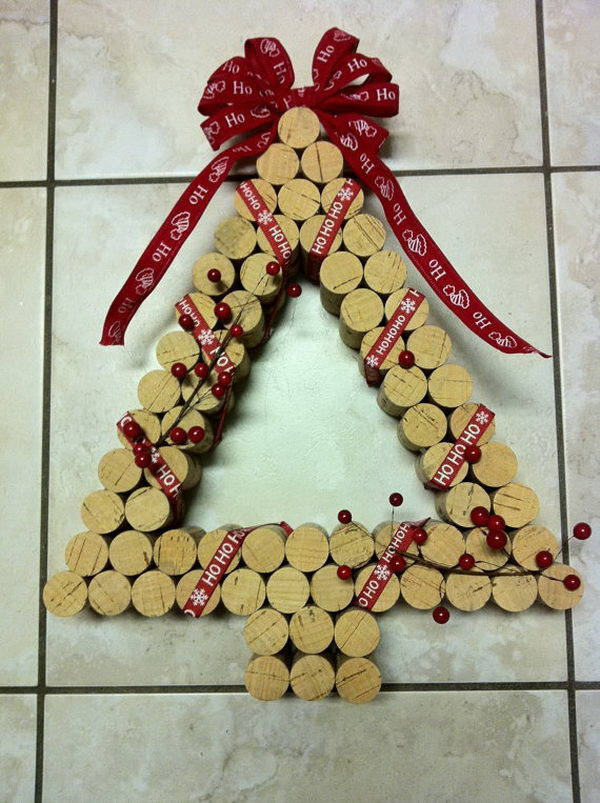 Wine Cork Christmas Tree Wreath.