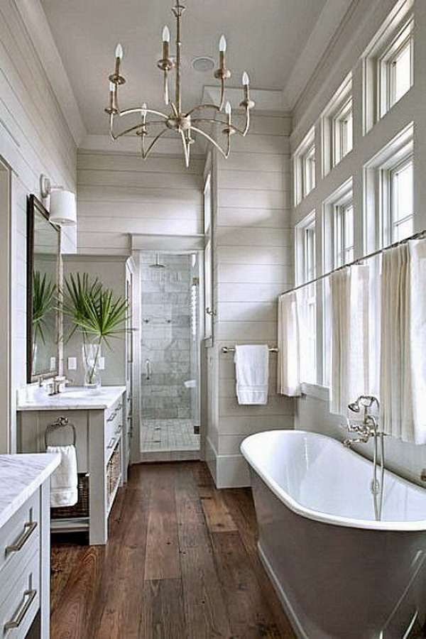 Bright white + gray + wood master bathroom with a touch of farmhouse rustic warm.