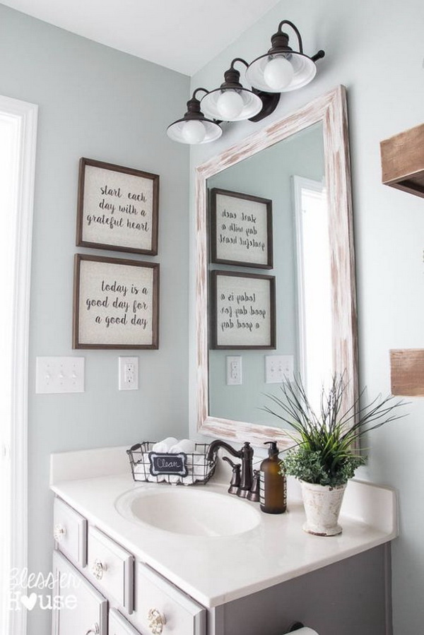 Modern farmhouse bathroom makeover.