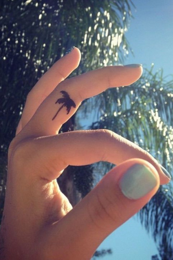 Palm Tree Finger Tattoo Design.